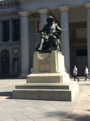 Statue of Velázquez along the entrance to the Prado Museum