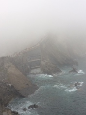 The view down from the bridge to the island