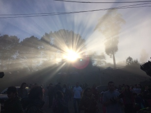 The sun hitting the fog just right at the end of the hike