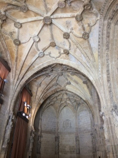 The interior of a church being restored